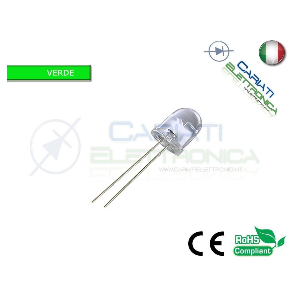 100 pz Led Verdi 10mm 20000mcd alta luminosità  13,00€