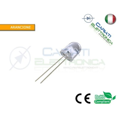 100 pz Led 10mm Arancione 10000mcd alta luminosità