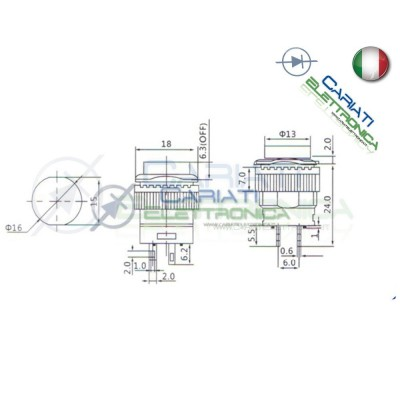 PULSANTE LED ROSSO 12V ROTONDO DIAMETRO 18mm  1,70€