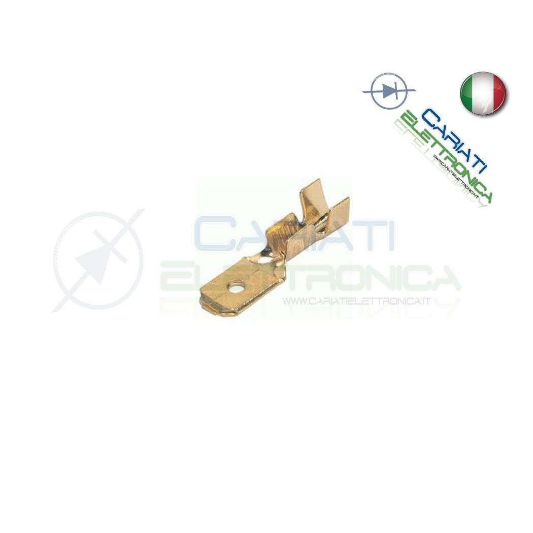 20 Pezzi Faston Maschio per PCB da 4,8mm 4,8x0,8mm THT ottone argentato
