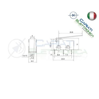 10 Pezzi MicroSwitch a leva Pulsante Fine Corsa Micro Switch  4,49€
