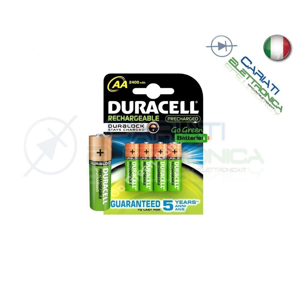 4 BATTERIE PILE DURACELL AA MN1500 RICARICABILI 2400MAH Duracell