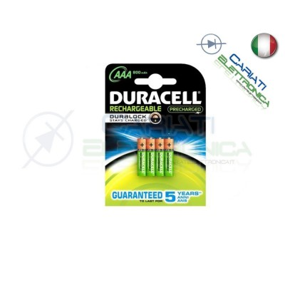 4 BATTERIE PILE DURACELL AAA MN2400 RICARICABILI 800MAH Duracell