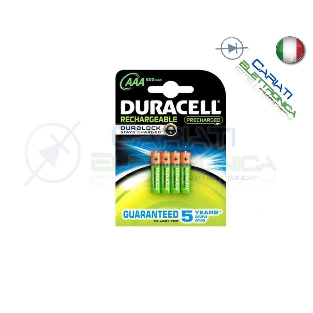 4 BATTERIE PILE DURACELL AAA MN2400 RICARICABILI 800MAH Duracell 11,99€