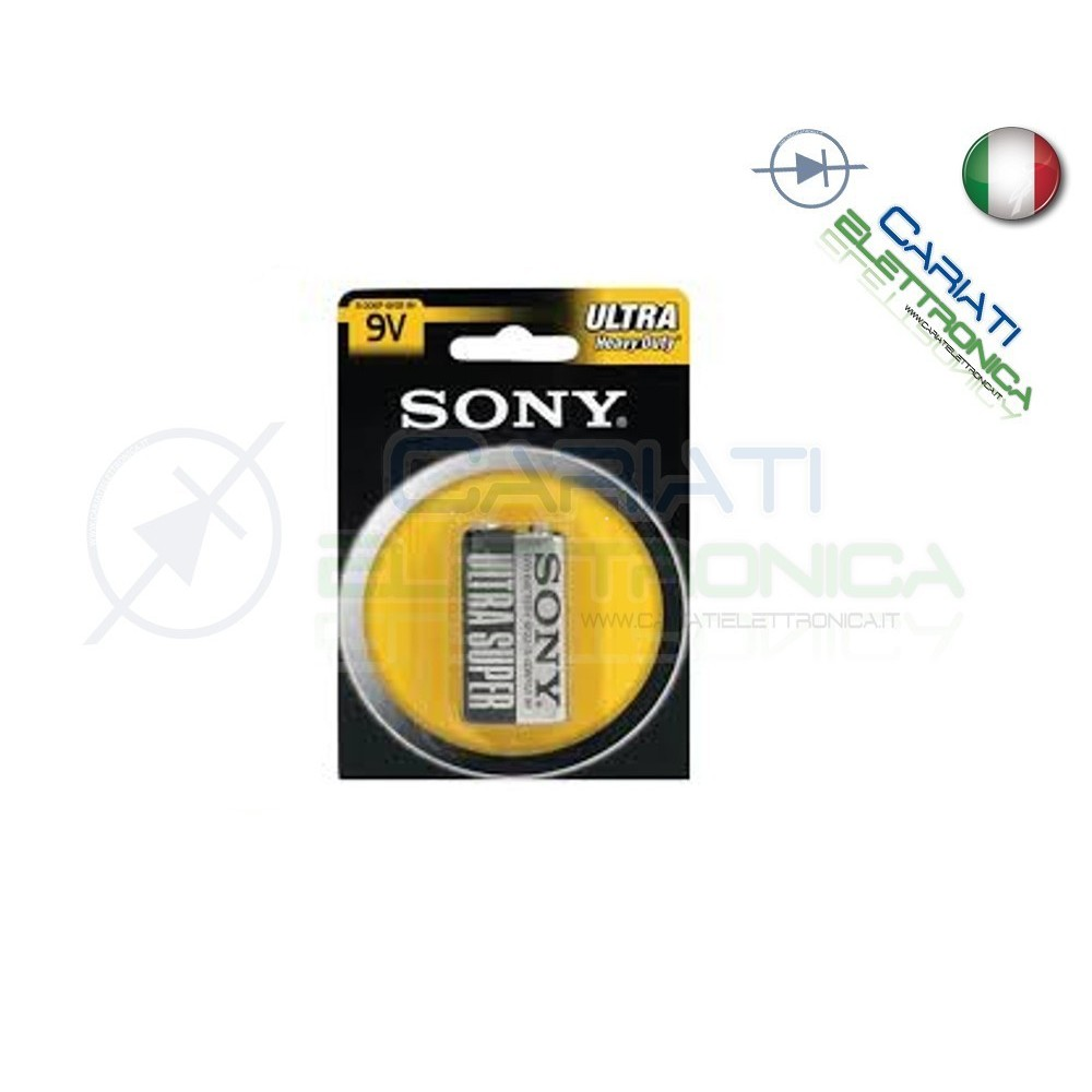 BATTERIA PILA SONY 9V 6F22 ULTRA HEAVY DUTY IN BLISTER Sony 1,30 €