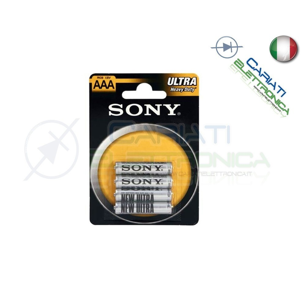 4 BATTERIE PILE SONY MINISTILO AAA R03 ULTRA HEAVY DUTY 1.5V IN BLISTER Sony