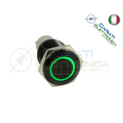 INTERRUTTORE LED VERDE 12V 16MM NERO AUTO MOTO CAMPER TUNING Angel Eye