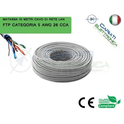 MATASSA 10 METRI FTP CAT. 5 5E AWG 26 CCA SCHERMATA CAVO DI RETE LAN ETHERNET