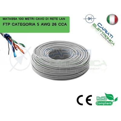 MATASSA 100 METRI FTP CAT. 5 5E AWG 26 CCA SCHERMATA CAVO DI RETE LAN ETHERNET