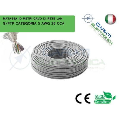 MATASSA 10 METRI S/FTP CAT. 5 5E AWG 26 CCA SCHERMATA CAVO DI RETE LAN ETHERNET