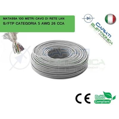 MATASSA 100 METRI S/FTP CAT. 5 5E AWG 26 CCA SCHERMATA CAVO DI RETE LAN ETHERNET