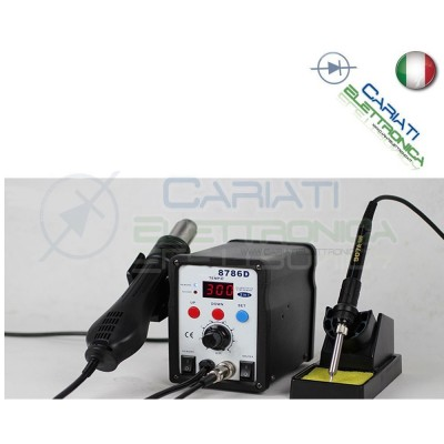 8786D STAZIONE DIGITALE AD ARIA CALDA CON SALDATORE 2 IN 1 SALDANTE Guangzhou Yihua Electronic Equipment Co.,Ltd. 59,90 €