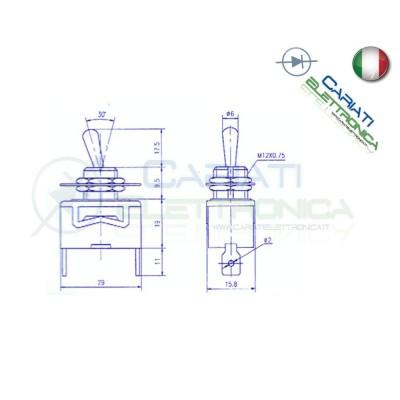 Interruttore a Leva 12V 15A On Off Cromato Bilanciere Auto Moto Tuning Batteria Generico
