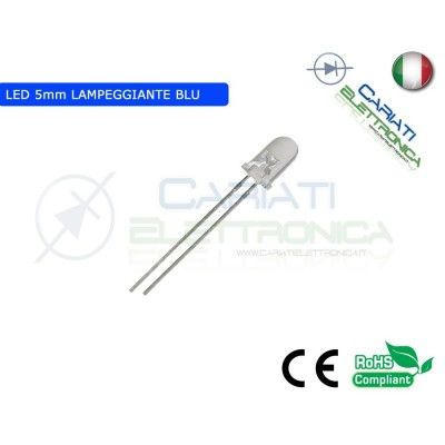 1000 pz Led Lampeggianti Blu 5mm 8000mcd alta luminosità