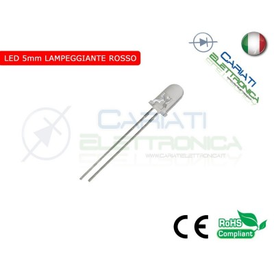 50 pz Led Lampeggianti Rossi 5mm 8000mcd Rosso