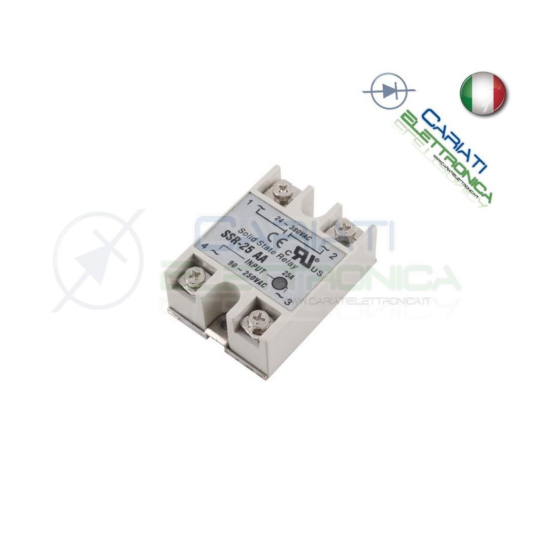 Relè Statico 25A 80-280Vac 24-380Vac SSR-25 AA Stato Solido Relay