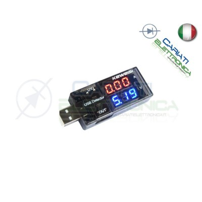 Tester Voltmetro Amperometro Digitale Misuratore USB DC 9V 3A Doppio Dislay