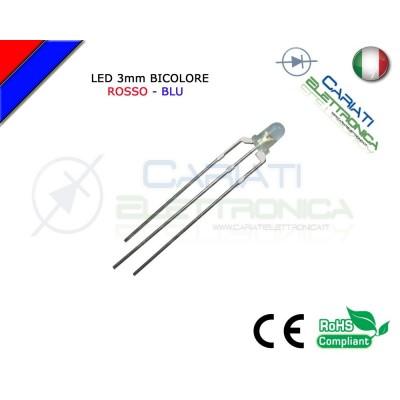 100 PZ Led 3mm Bicolore Rosso Blu 8000mcd CATODO COMUNE 3 Pin 37,00 €