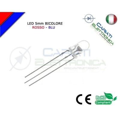 50 PZ Led 5mm Bicolore Rosso Blu 8000mcd CATODO COMUNE 3 Pin