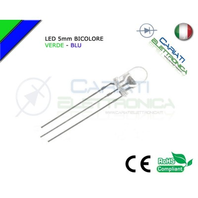 50 PZ Led 5mm Bicolore Verde Blu 8000mcd CATODO COMUNE 3 Pin