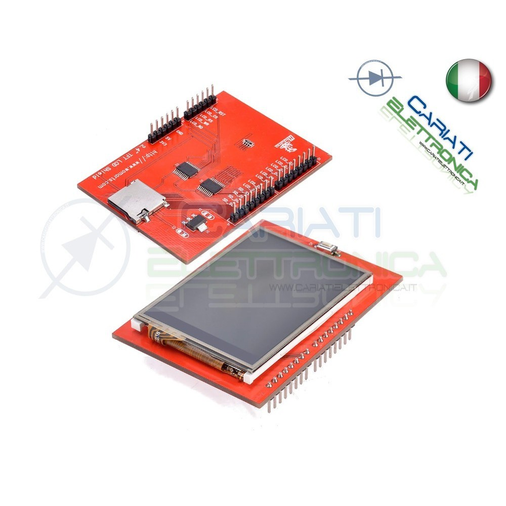 Display lcd grafico a colori 240x320 2.4 TFT con touch screen per Arduino uno R3