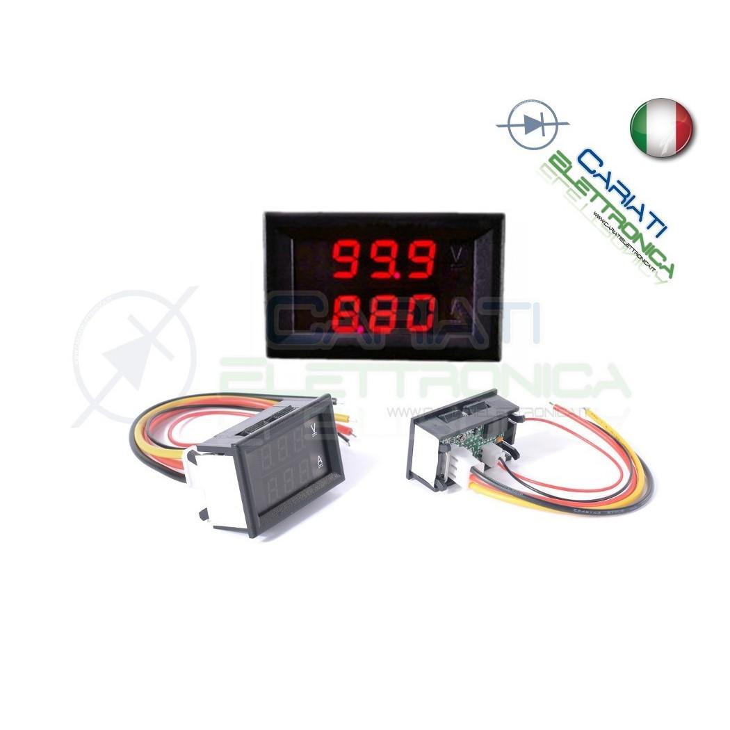 Amperometro Voltometro ROSSO da pannello 0-10A 0-100V tester Tensione Corrente 9,00 €