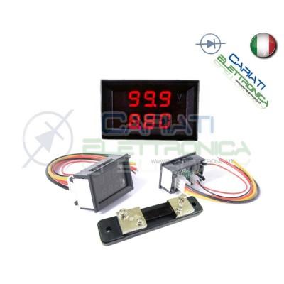 Amperometro Voltometro ROSSO da pannello 0-50A 0-100V tester Tensione Corrente