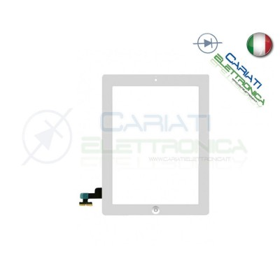 VETRO TOUCH SCREEN BIANCO PER APPLE IPAD 2 CON TASTO HOME E BIADESIVO