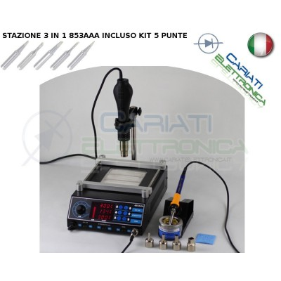 STAZIONE SALDANTE DISSALDANTE SALDATORE STAGNO Modelo 853AAA 3 IN 1 Guangzhou Yihua Electronic Equipment Co.,Ltd. 170,99 €