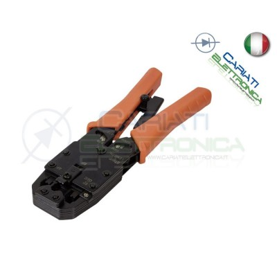 Pinza Crimpatrice Professionale per Cavi Lan Connettori Plug RJ45 RJ11 RJ12