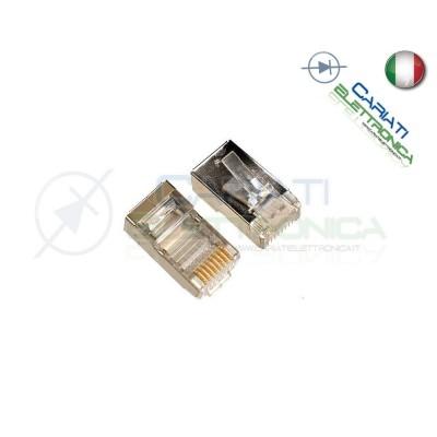 50 PLUG CONNETTORI RJ45 CAT 6 SCHERMATI FTP CAVO LAN ETHERNET RJ 45
