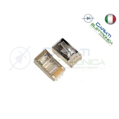100 PLUG CONNETTORI RJ45 CAT 6 SCHERMATI FTP CAVO LAN ETHERNET RJ 45