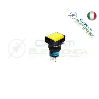 PULSANTE LED GIALLO AMBRA 12V TESTA RETTANGOLARE 18x24mm