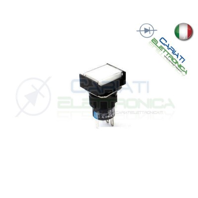 PULSANTE BIANCO A LED 12V TESTA RETTANGOLARE 18x24mm