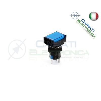 PULSANTE BLU A LED 12V TESTA RETTANGOLARE 18x24mm