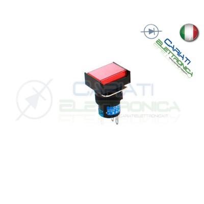 PULSANTE ROSSO A LED 12V TESTA RETTANGOLARE 18x24mm  2,90€