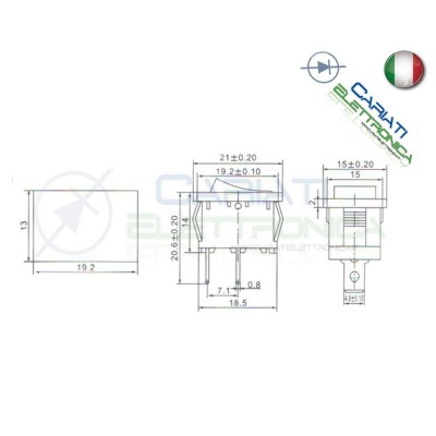 2 PEZZI Interruttore a Bilanciere Unipolare ON OFF 6A 250V SPST Rocket