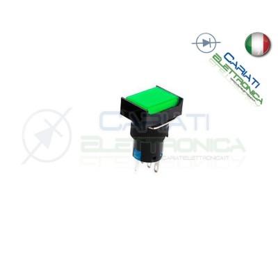 PULSANTE VERDE A LED 12V TESTA RETTANGOLARE 18x24mm
