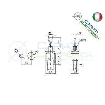 Interruttore Deviatore a Leva ON ON 3A 125V  1,00 €