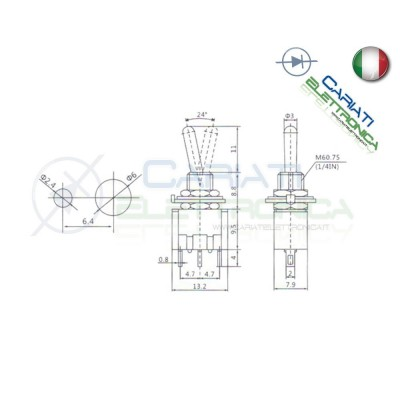 Interruttore Deviatore a Leva ON OFF ON 2A 250V SP3T Bilanciere Generico