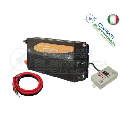 POWER INVERTER 600W MAX 1200W WATT ONDA SINUSOIDALE PURA 12V DC 230V 1,240.00