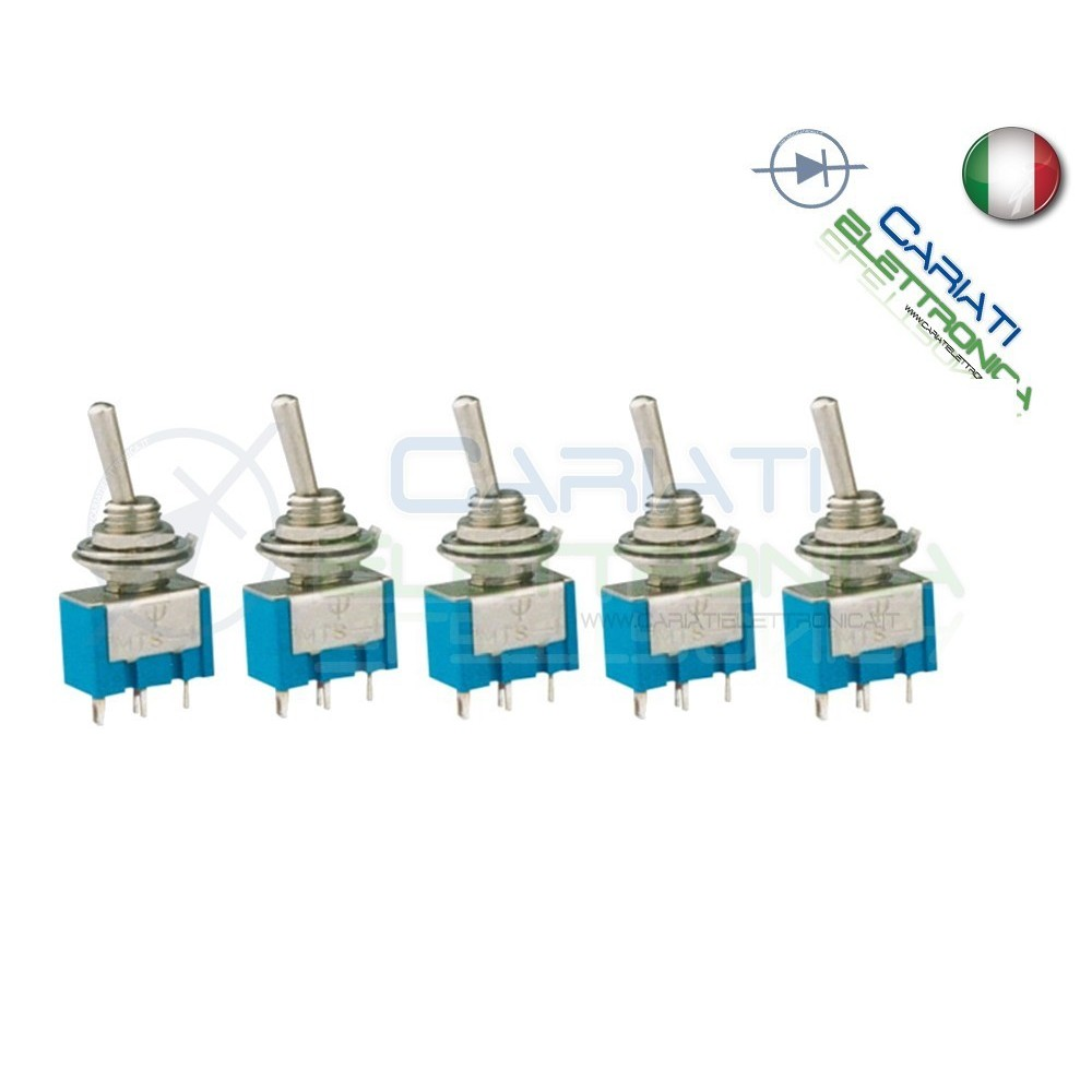 5 Interruttori Deviatori a Leva ON OFF ON 2A 250V con Ritorno SP3T  4,50 €