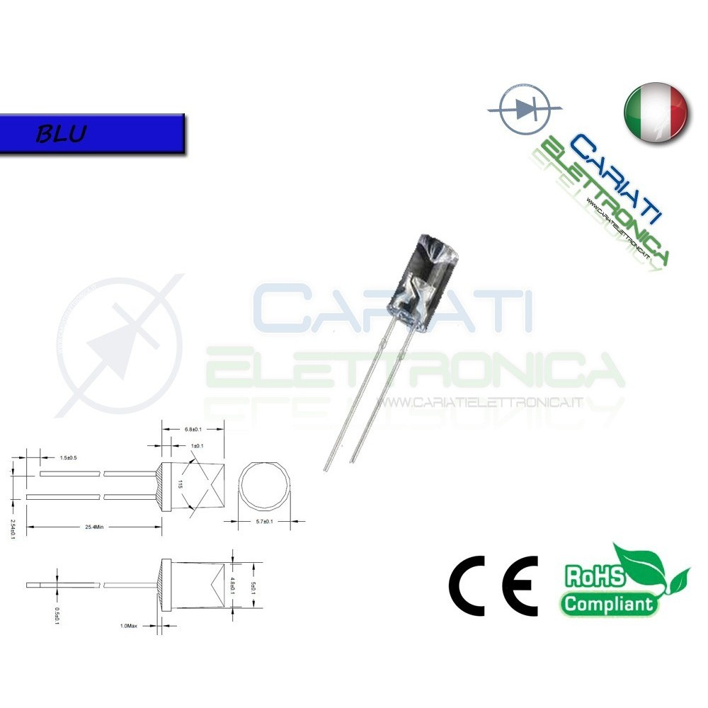 500 pz Led 5mm FLAT TOP BLU 10000 mcd alta luminosità  45,00 €