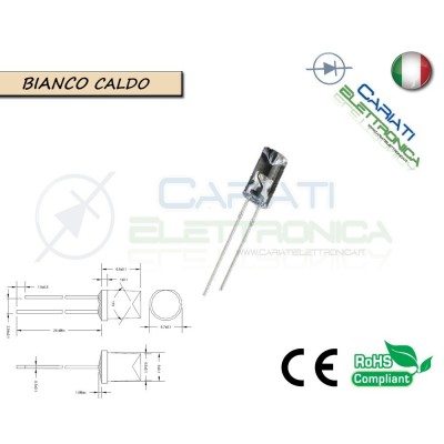 10 pz Led 5mm FLAT TOP Bianco Caldo 13000 mcd alta luminosità  2,50 €