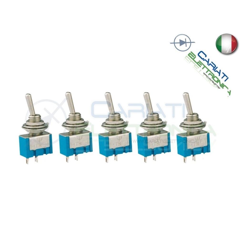 5 Interruttori Deviatore a Leva ON OFF 2A 250V con Ritorno  4,00€
