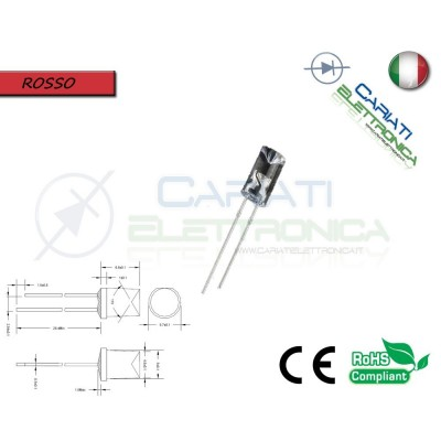 10 pz Led 5mm FLAT TOP Rosso 8000 mcd alta luminosità  2,50 €