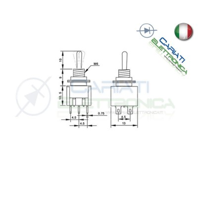 5 Pezzi Interruttore Deviatore a Leva ON OFF ON 2A 250V 6 Pin DP3T
