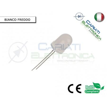 100 pz Led 10mm Bianco Freddo Bianchi Luce Diffusa 1500mcd