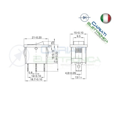 Interruttore Blu a Bilanciere 0 1 ON OFF 6A 250V da pannello con Luce SPST
