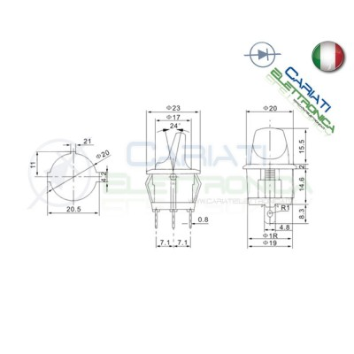 Interruttore Leva con Luce Verde ON OFF 6A 250V